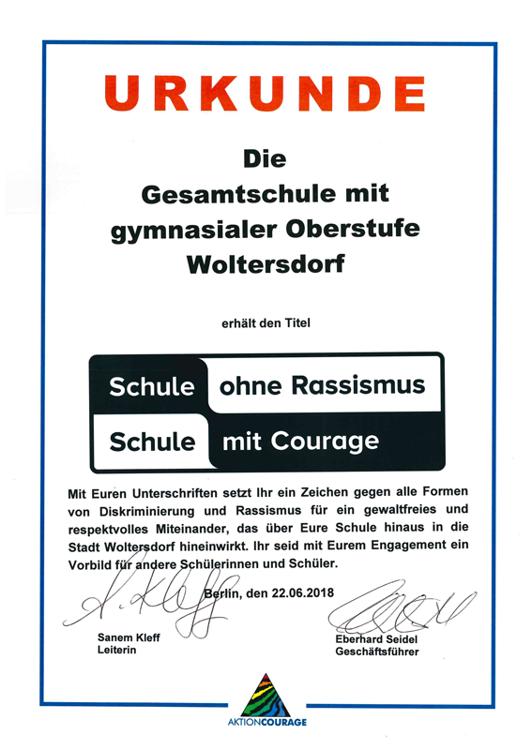 Gesamtschule Woltersdorf der FAWZ gGmbH_Schule ohne Rassismus - Schule mit Courage_Urkunde_2018